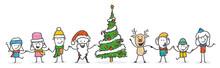 Strichfiguren / Strichmännchen: Lustig, Weihnachten, Weihnachtsmann, Kinder, Rentier. (Nr. 559)