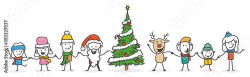 Strichfiguren / Strichmännchen: Lustig, Weihnachten, Weihnachtsmann, Kinder, Rentier. (Nr. 559) - 383329337