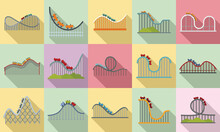 Roller Coaster Icons Set. Flat Set Of Roller Coaster Vector Icons For Web Design