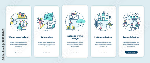 Obraz na plátne Winter vacation places onboarding mobile app page screen with concepts
