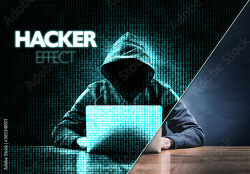 Hacker Digital Manipulation Effect Mockup