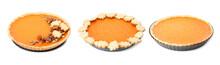 Set Of Tasty Pumpkin Pies On W...