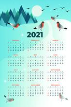 Calendar Of 2021. Postcard Winter Landscape. Birds On A White Background