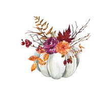 Beautiful Fall Arrangement Illustration. White Pumpkin With Purple And Orange Flowers, Leaves, Tree Branches, Berries, Isolated On White Background Rustic Style Decoration. Thanksgiving Card.