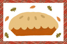 Autumn Vector Illustration With Pumpkin Or Apple Pie. Can Be Used For Thanksgiving Day.