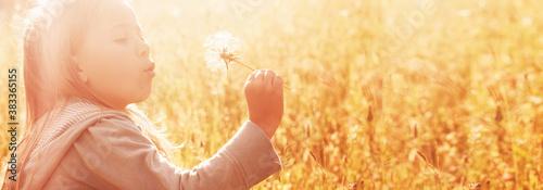 Obraz na plátně Little girl blowing away dandelion on meadow