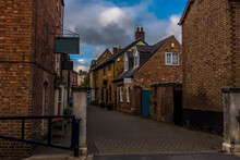A View Down A Traditional Quaint Street In Melton Mowbray, Leicestershire, UK In The Summertime