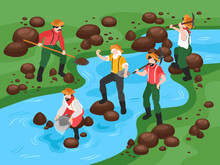 Gold Panning Isometric Composition