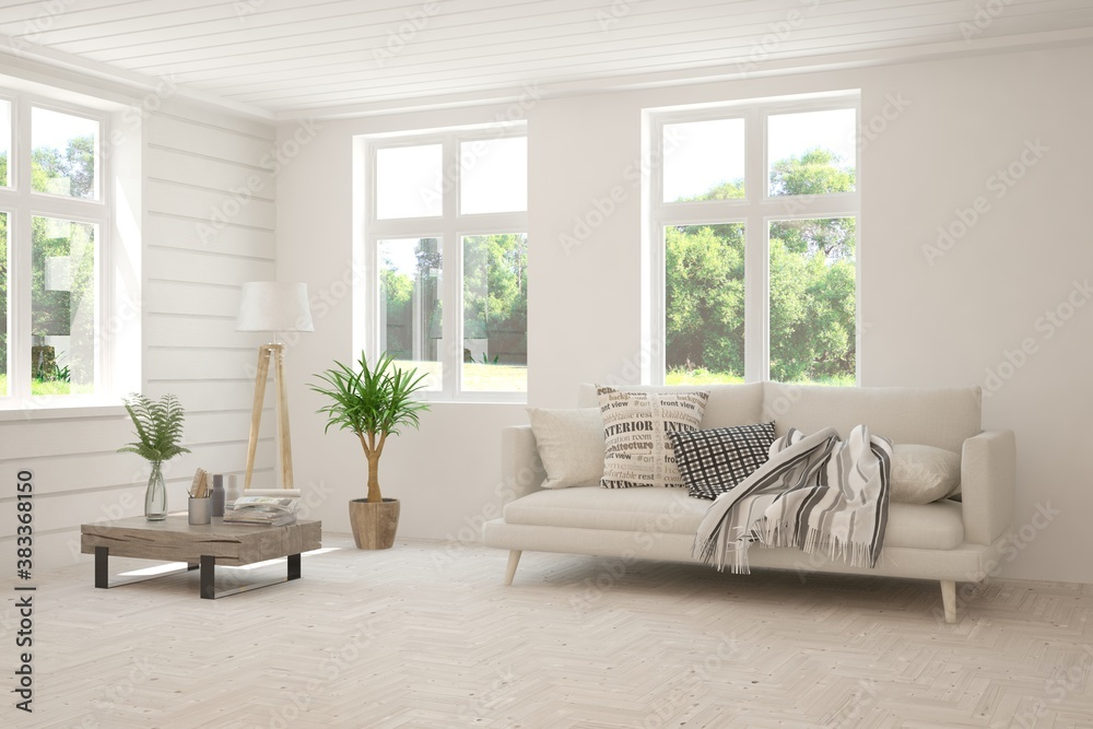 Fototapeta White living room with sofa and summer landscape in window. Scandinavian interior design. 3D illustration