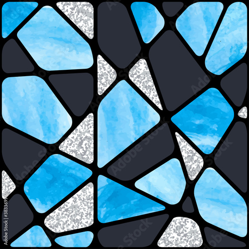 Naklejki na parawan nawannowy   stained-glass-window-background-abstract-blue-mosaic-pattern