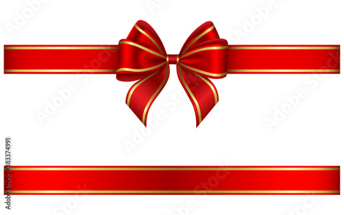 red ribbon and bow with gold edging