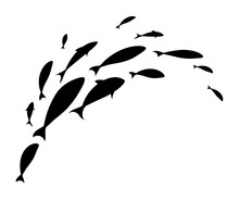 Silhouette Of Jumping School Of Fish. Logo Template Design.