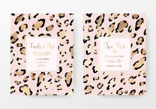 Fashionable Leopard Print Invitation Cards With Gold Texture.