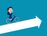 Person ride bicycle on arrow and growth direction