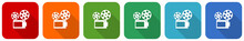 Movie Icon Set, Flat Design Vector Illustration In 6 Colors Options For Webdesign And Mobile Applications