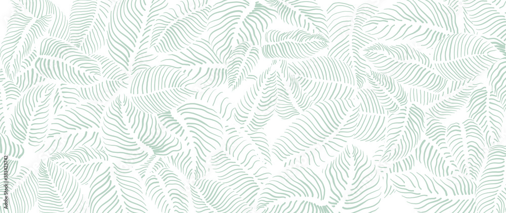 Fototapeta Abstract leave background pattern vector. Tropical monstera leaf design wallpaper. Botanical texture design for print, wall arts, and wallpaper.