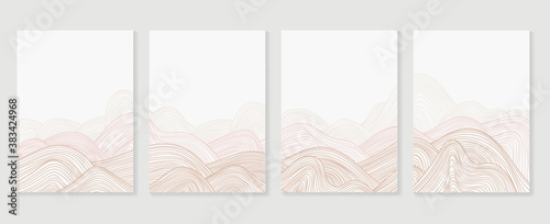 Wave line art wall arts Vector. Art Deco Pattern with abstract line design for Vip invitation background texture for print, fabric, packaging design, invite. Vintage vector illustration