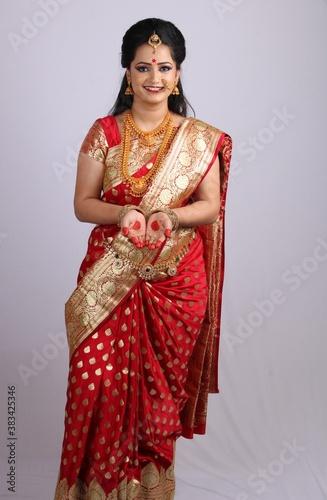 Fotografie, Tablou Indian Godess of prosperity / Lakshmi isolated on white.