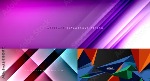 Fototapeta Set of trendy bright geometric minimal abstract backgrounds obraz