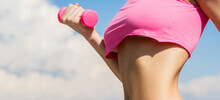 Woman With Dumbbell Fit Slim A...