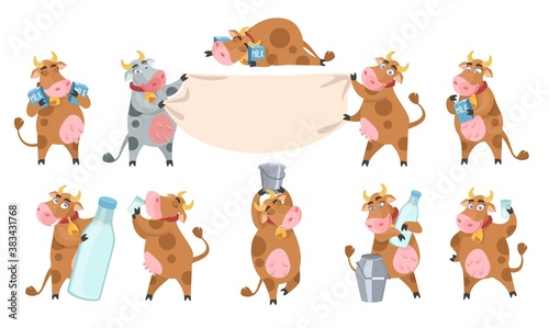 Cute cow cartoon character set, flat vector isolated illustration Fototapet
