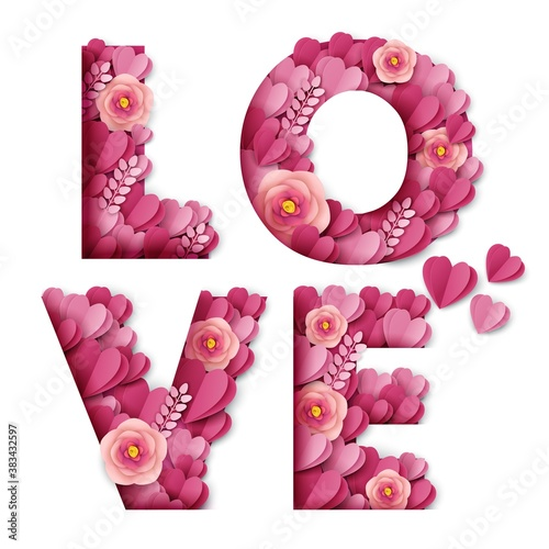 Love word made of beautiful paper cut pink flowers and hearts Fotobehang