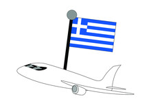 Airplane With Greece Flag Vector Illustration. Suitable For Travelling Business And Travel Or Holiday Theme.