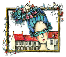 Marie Antoinette With Big Hairstyle With Flowers, Leaves, Frame And Houses. Hand Drawn Colored Pencils Illustration.