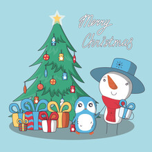 Christmas Card With Decorated Tree. Greeting Snowman And Penguin With Presents. Vector Illustration In Cartoon Style