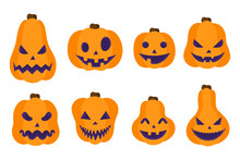Vector Cartoon Set Of Illustrations With Halloween Jack-o-lantern Orange Pumpkins On A White Background