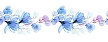 Watercolor Illustration, Seamless Horizontal Border With Transparent Flowers. Transparent Magnolia Flowers And Eucalyptus Leaves Of Pink And Blue Flowers. Pastel Colors, Vintage Design