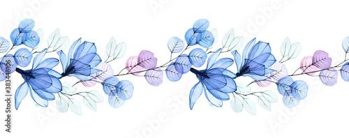 Fotografie, Obraz watercolor illustration, seamless horizontal border with transparent flowers