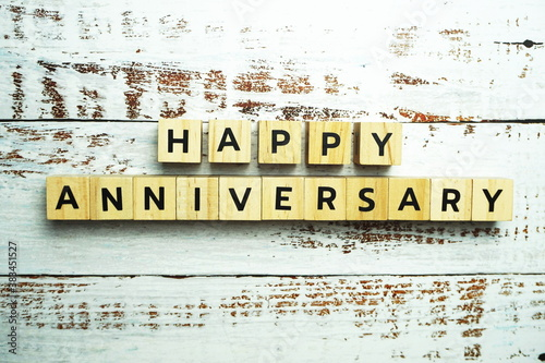 Fényképezés Happy Anniversary alphabet letter with space copy on wooden