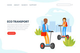 Eco Transport Landing Page Template, People Riding Hoverboards on City Street Outdoors Vector Illustration