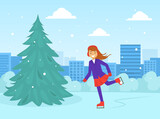 Girl Dressed in Winter Clothing Skating on Rink, Winter Sports and Activities Concept Vector Illustration