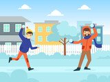 Father and His Teenage Son Playing Snowballs Outdoors Dressed in Winter Clothing, Winter Sports and Activities Concept Vector Illustration