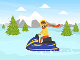 Man Riding Snowmobile in Winter Landscape, Outdoor Activity During Winter Holidays Cartoon Vector Illustration