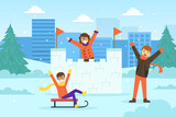Happy Children Building Snow Castle and Sledding, Winter Sports and Activities Concept Vector Illustration