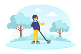 Boy Dressed in Warm Clothing Playing Hockey in Winter Landscape, Outdoor Activity During Winter Holidays Vector Illustration