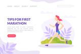 Tips for First Marathon Landing Page Template, Running Competition Web Page, Young Woman Jogging or Running in Park Vector Illustration