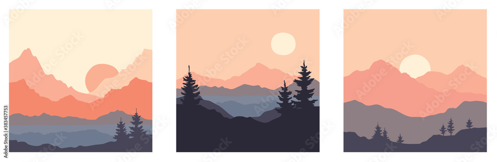 Fototapeta Abstract landscape with mountains and firs. Three vector illustrations. Twilight, sunset.