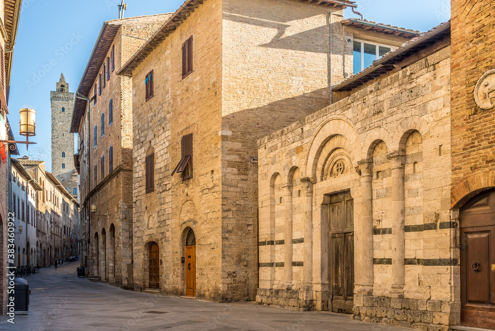 In the streets of town San Gimignano - Italy