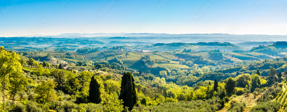 Panoramic view from town of San Gimignano to valley, Italy