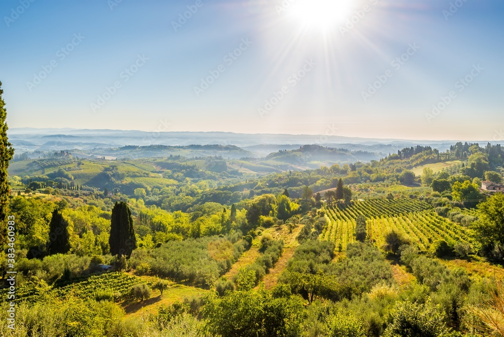 View from town of San Gimignano to valley, Italy