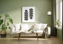 3d Render Of A Pale Olive Green Room With A White Sofa An Art Canvas And Many Plants And Flowers