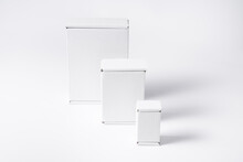 Set Of Different White Cardboard, Carton Flat Boxes On Background