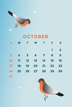 Vector Calendar Template . The Month Of October. Weekday. Date. Graphic Illustration.