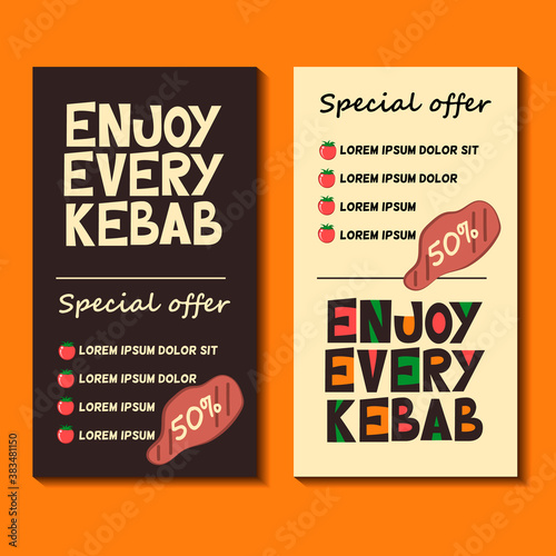 Fotografía Template of a discount flyer for a kebab-cafe or barbecue-cafe on a dark and light background with a funny, amusing grotesque style lettering - Enjoy every kebab