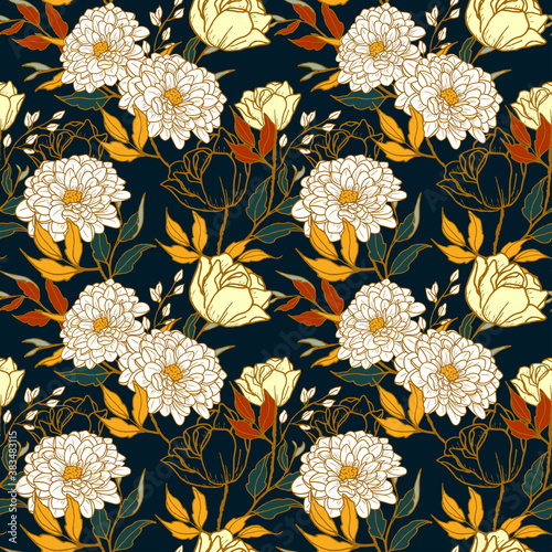Fototapeta Seamless pattern of floral concept with vintage style obraz