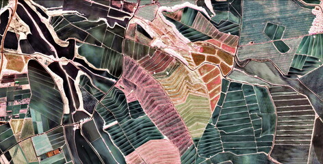 Fototapeta Abstrakcja texture, abstract photography of the Spain fields from the air, aerial view, representation of human labor camps, abstract art,